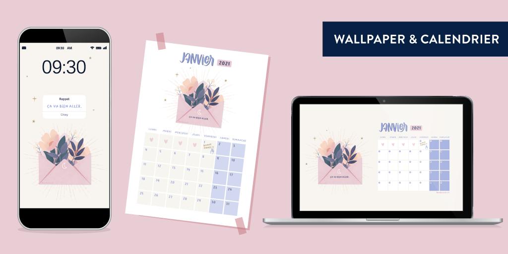 Wallpaper et calendrier Goodie Moo dpour janvier 2021 sur Patreon