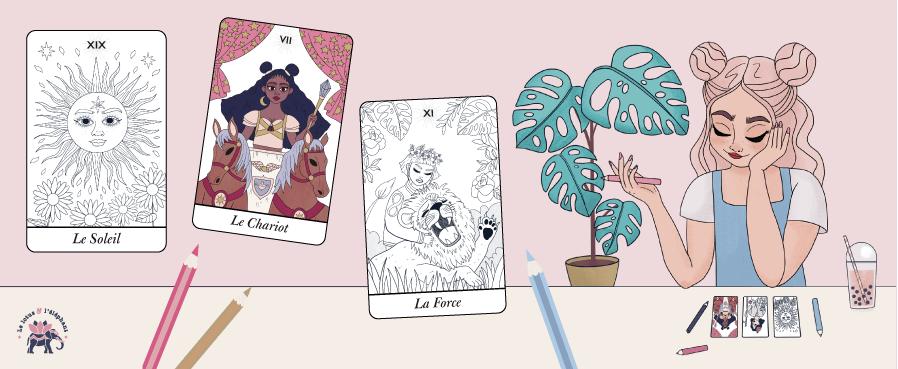 78 cartes de Tarot de Marseille à colorier - par Goodie Mood