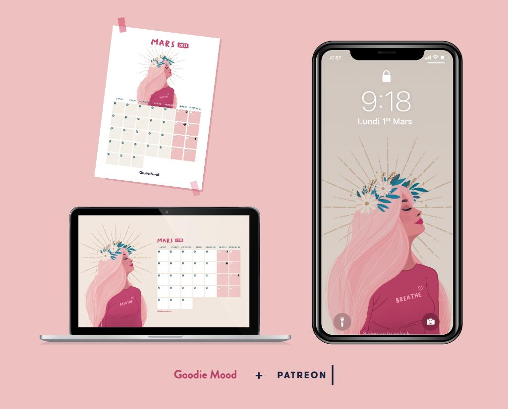 Wallpaper et calendrier pour mars 2021 goodie mood